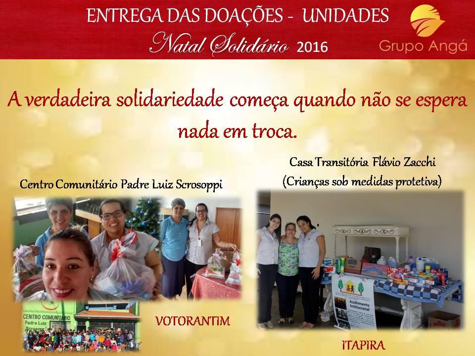 ENTREGA DAS DOAÇÕES - UNIDADES ITAPIRA E VOTORANTIM